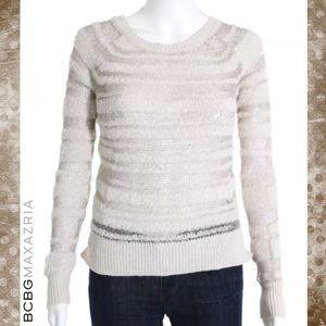 BCBG MAXAZRIA Brown/Cream Open Knit Stripe Sweater
